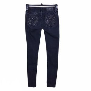 Miss Me Black Crystals Embroidered Skinny Jeans 25